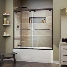 dreamline encore 56 in to 60 in w frameless oil rubbed bronze sliding shower