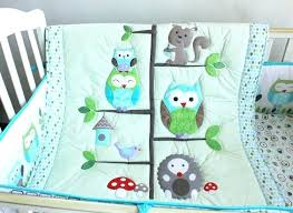 happy owls and animals friends baby crib bedding set embroidered quilt per fitted sheet for boy