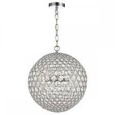 chrome crystal glass globe ceiling pendant