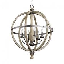 lighting kichler lighting evan 28 5 in 6 light distressed antique gray rustic in rustic globe chandelier