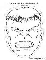 Small Picture Printable Superheroes Hulk face cut out Coloring pages Printable