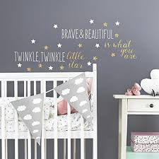 le little star wall decals room decor nursery rhyme stickers gold glitter 691201628869