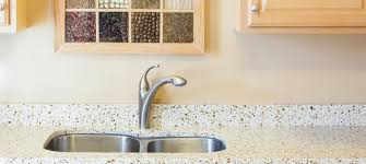 lovely recycled glass countertops plus cabinets and double sink and silver faucet for kitchen decoration ideas