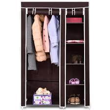 costway 69 portable closet storage organizer clothes wardrobe shoe rack w 6 shelf