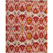 safavieh ikat ivory red 8 ft x 10 ft area rug