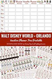Free Itinerary Maker Orlando Walt Disney World Vacation Planner Free Printable