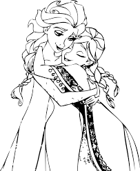 Small Picture Elsa And Anna Hug Coloring Page Wecoloringpage