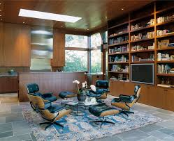 Eames lounge chair in room kitchen modern with glass coffee table stainless  steel large tv