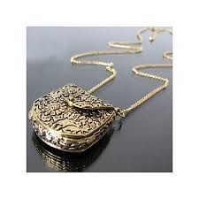 vintage unique bag box shape carved locket pendant long chain necklace