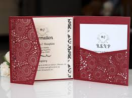Wedding Invitation Folder Burgundy 3 Folder Laser Cut Invitations Cards With Rsvp Cards White Pearl Paper Invite Card Stock For Birthday Party Supply Message In A Bottle