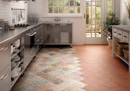 beautiful patterned patchwork vinyl tile flooring for kitchens with stainless steel appliances