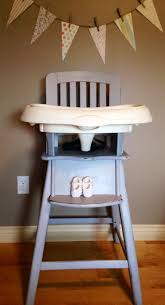 Re loved Ed Bauer wood high chair painted in ASCP Paris Grey