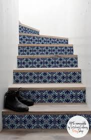 Blue And White Decorative Tiles 60 step stair riser decal navy and white decorative tiles 33