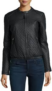 max studio check quilted faux leather jacket black