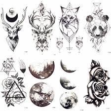 геометрический рисунок черные лось кошки временная татуировка для мужчин