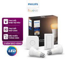 Bộ 2 Bóng Đèn thông minh Philips Hue White Ambiance Starter Kit 8.5W A60  E27 kèm Bridge và Dimmer