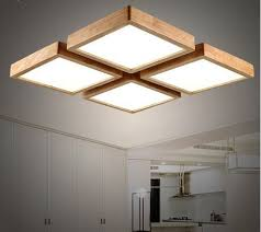 wooden led ceiling light square