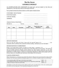 blank catering contract wedding catering contract sample