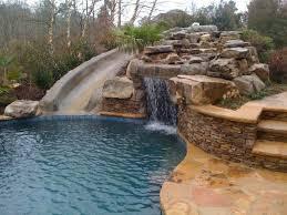 fancy stone inground pool water slide custom slides hd inground pools with waterslides c9 inground