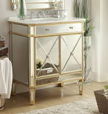 Gold Bathroom Adelina 32 Inch Mirrored Gold Bathroom Vanity White Marble Top