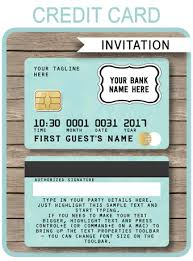 Credit Card Party Invitations Green Credit Card Invitations Mall Scavenger Hunt Invitations