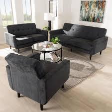 baxton studio carina 3 piece dark gray living room set 145 82188220 hd the home depot