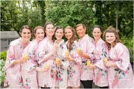 battleground country club wedding photos wedding bands bridesmaids in pink robes