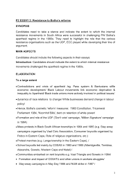 p essay resistance to botha`s reforms synopsis candidates