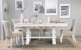 cavendish white extending dining table with 4 bewley oatmeal chairs only 699 99