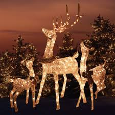 Morning Star Market Outdoor Platinum Shimmer Lighted Reindeer Family Set With Buck Deer Doe And Baby Fawn Santas Reindeer Holiday Lawn Sculpture