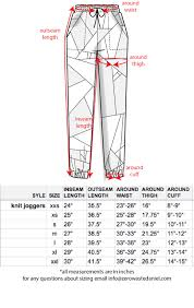 Artisan Ny Size Chart Pop Of Gray Jogger Zero Waste Daniel