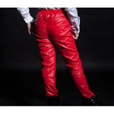 red leather fashion boys kids children stage performance school competition jazz singers rs modern hip hop pants trousers