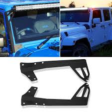 52 Inch Light Bar For Jeep Turbosii 52 Inch Straight Led Work Light Bar Steel Metal Upper Windshield Mounting Brackets Fit 2007 2015 Jeep Jk Wrangler Unlimited Rubicon Sport