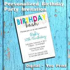 Print Out Birthday Invitations Extraordinary Printable Birthday Bash Personalized Party Invitation Confetti