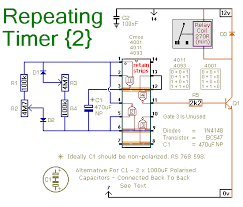 a repeating timer circuit schematic diagram of a regularly re triggering interval timer