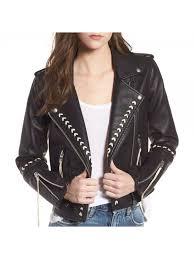 women moto whip stitched style leather jacket