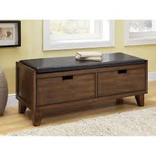 Living Room Benches Dark Walnut Solid Wood Bench With Drawers Free Shipping Today