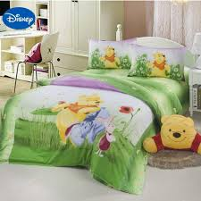 green disney cartoon winnie the pooh bed set for children s bedroom decor cotton bedding duvet cover