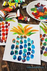art and craft ideas for toddlers pinterest. kunst met kinderen - diy pineapple thumbprint art kids project beckham and belle craft ideas for toddlers pinterest p