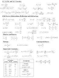 the formula sheet that