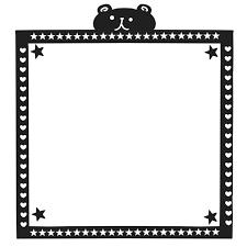 モノクロクマさんフレームイラスト 無料イラスト素材素材ラボ