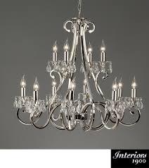 interiors 1900 oksana 12 light chandelier polished nickel crystal ul1p12n