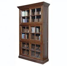 solid wood bookcases with sliding glass doors design
