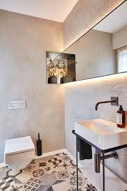 Badezimmer Im Landhausstil Modern Mit Boden Fliesen Kacheln Bad