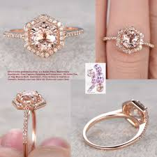 Design Your Own Morganite Engagement Ring Round Morganite Engagement Ring Diamond Hexagon Halo 14k Rose Gold 7mm