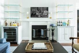 living room with bar shelves