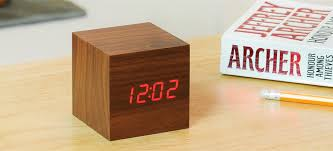 cube walnut clock