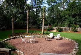 Backyard gravel landscaping