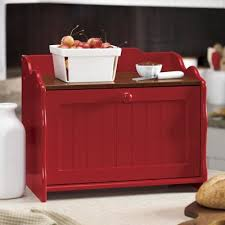 Decorative Bread Box ginny 100100 Oak Top Beadboard Bread Box Kitchen Red 2