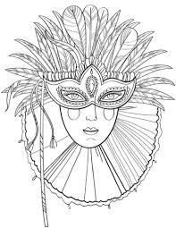 Mooie Dame Met Carnavalsmasker Kleurplaat Gratis Kleurplaten Printen